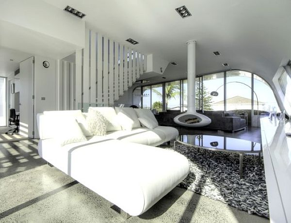 white suspended fireplace