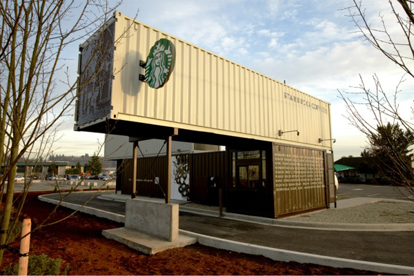 4 of Starbucks own shipping containers were used for the structure