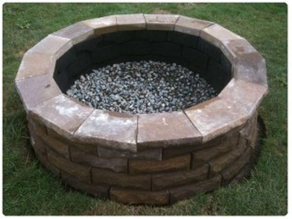 A DIY cement paver fire pit
