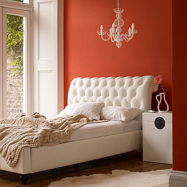 A chic orange small bedroom