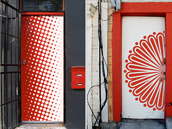 Artistic wall decals for the door