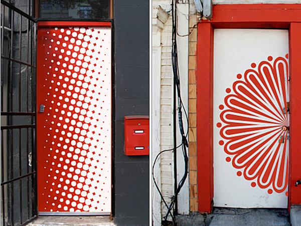 Artistic wall decals for the door