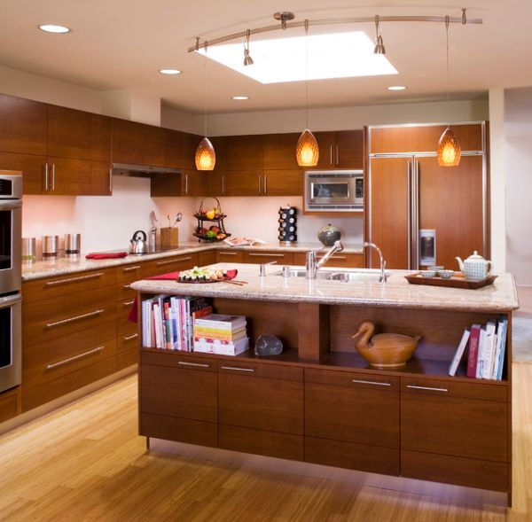 Marvelous View In Gallery Asian Design Inspired Kitchen With Bookshelf At The End Of  The Bar For Cookbooks Part 12