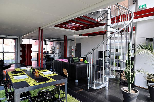 Beautiful spiral staircase leads to the top floor