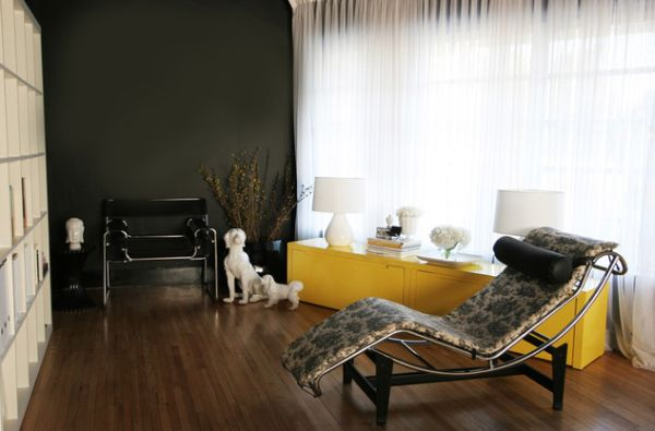 black and yellow contemporary living room with black wassily chair