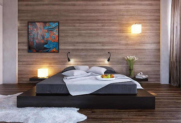 view in gallery black platform bed with a modern wood clad bedroom wall