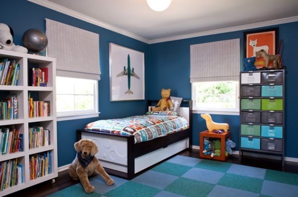 Bold kids bedroom with bright colors and a compact trundle bed