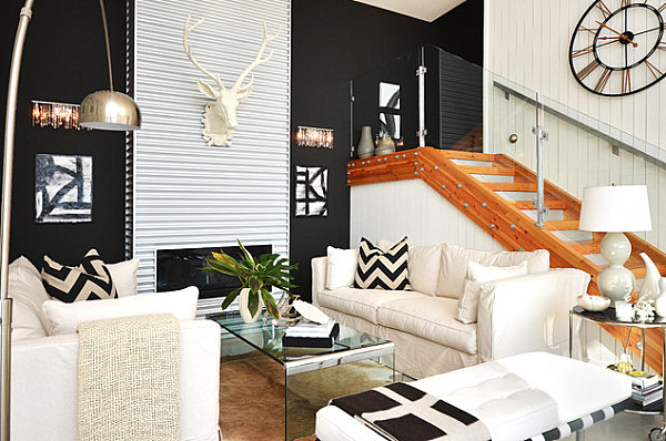 Bold patterns in a compact living room