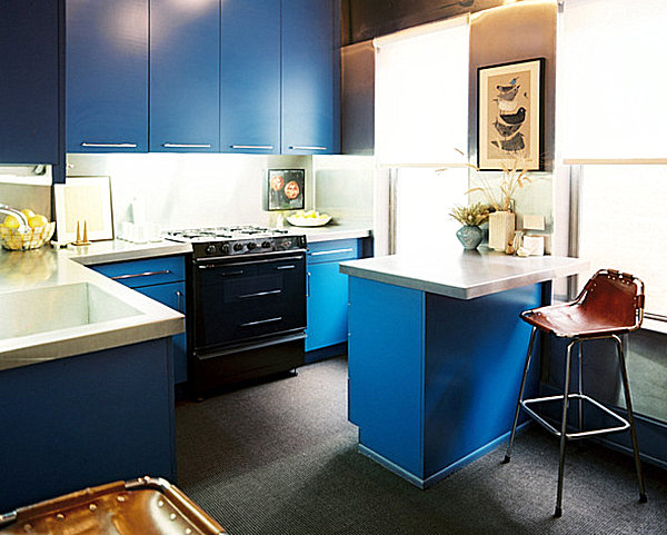 Bright blue kitchen bar for one