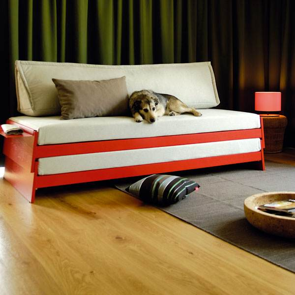 Bright red convertible bed sofa