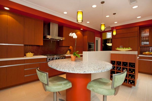 Brilliant Asian kitchen with sleek and organized shelf space lit by stunning pendant lamps