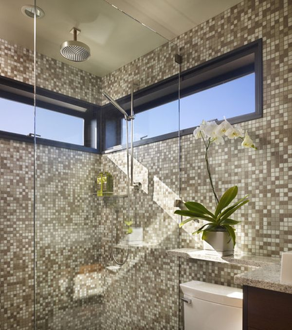 Brilliant glass shower door gives this bath an airy feel despite small space on offer