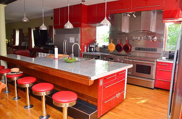 Brilliant red kitchen with midcentury styling