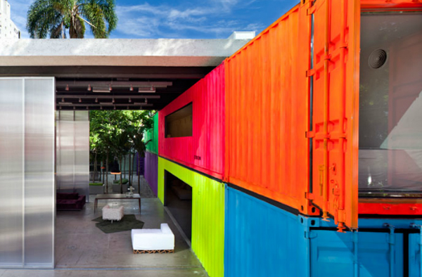 Brilliantly painted shipping container home in Brazil