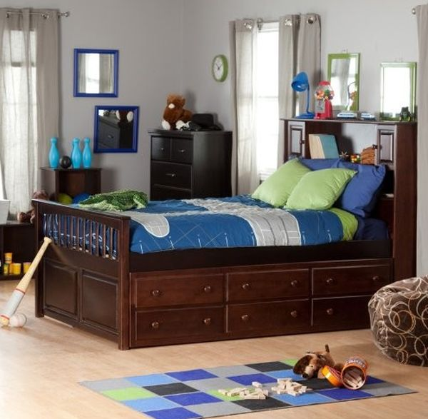 ... Captain's Bookcase Trundle Bed in dark hues