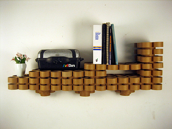 Cardboard tube wall shelves