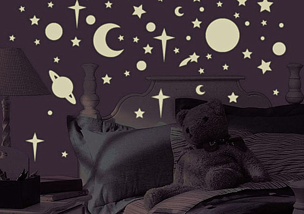 Celestial glow-in-the-dark wall decals