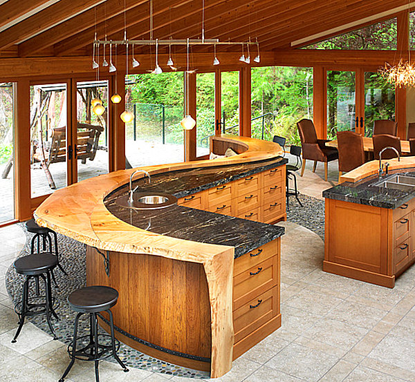 View In Gallery Chunky Bar Design Using Natural Wood