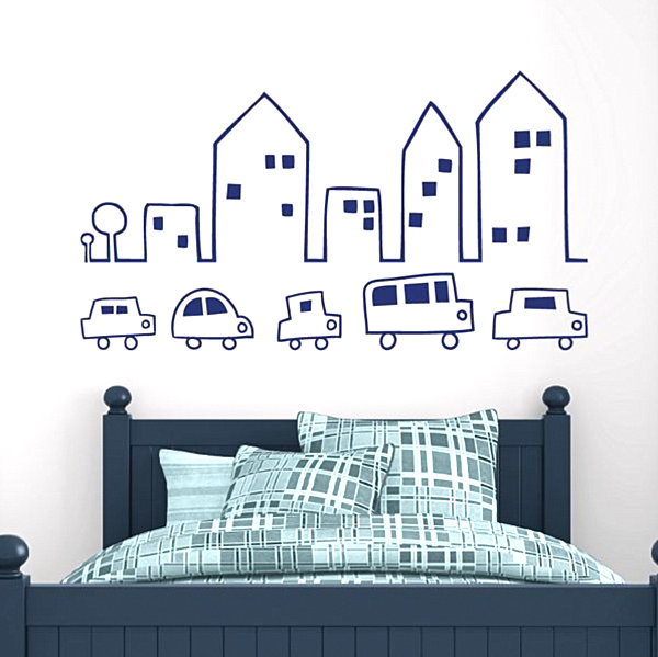 City skyline wall decals