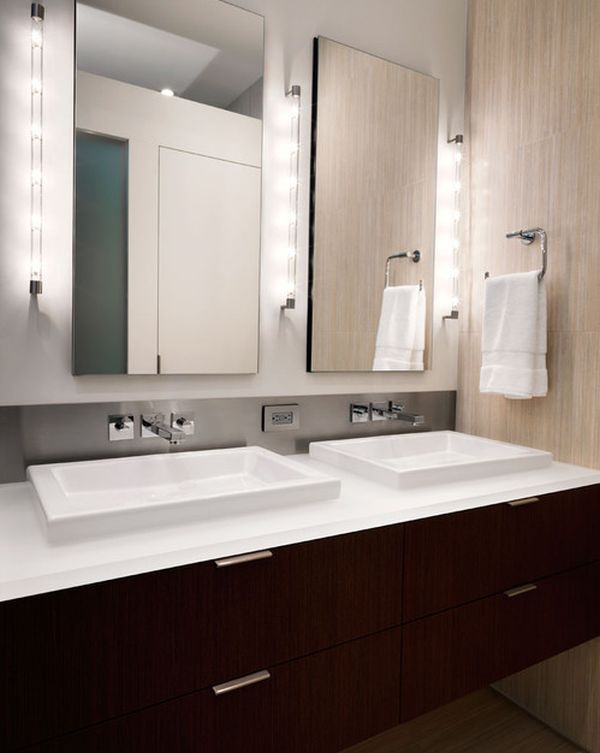Clean and minimal vanity design lit up in a stunning fashion
