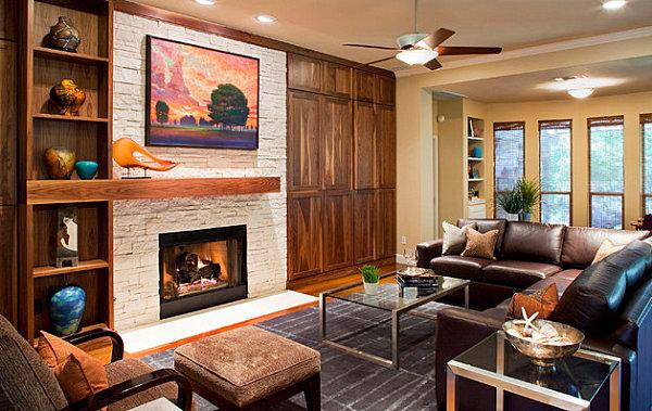 Coarse stone fireplace