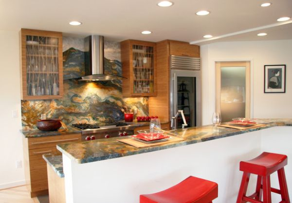 Colorful granite backsplash and countertop along with retro-styled furnishings make up this Asian kitchen