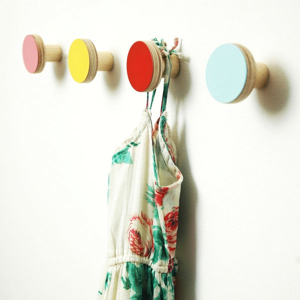 Colorful wooden wall hooks