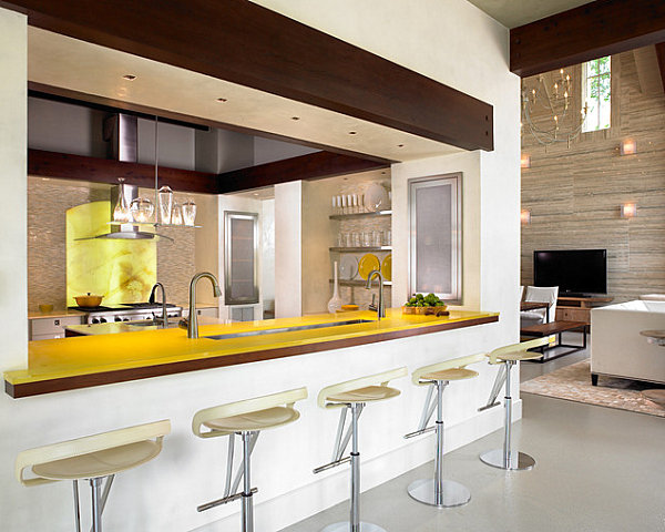 View in gallery Colorful yellow kitchen bar