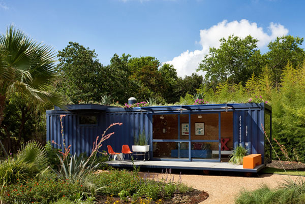 Container home surrounded by ample green