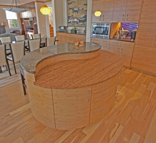Contemporary Asian styled kitchen with a fabulous Yin-yang shaped island at its heart