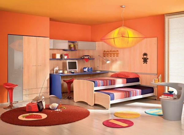 Contemporary Colorful Kids Bedroom with a Vivacious Trundle Bed 24 Cool Trundle Beds for Your Kids Room