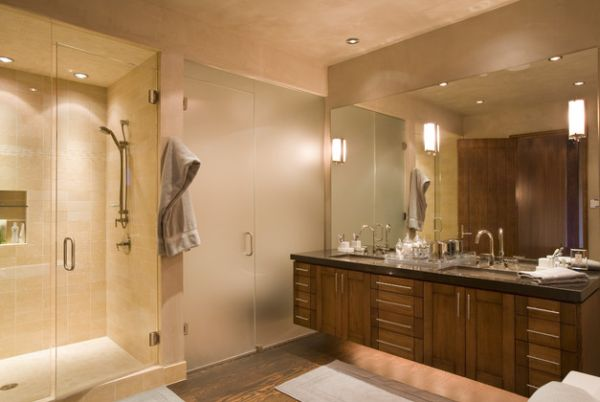 contemporary bathroom with elaborate vanity design lit up fashionably