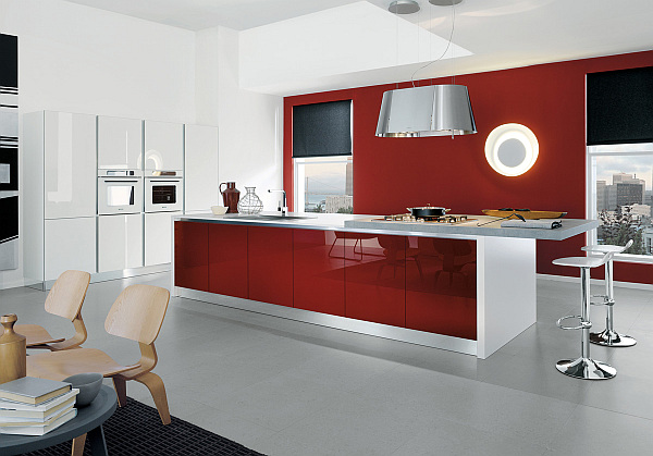 Contemporary kitchen in white and glossy amaranth red Hot Red For Kitchens With Attitude