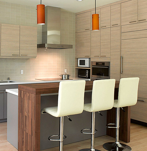 Contemporary wooden kitchen bar design