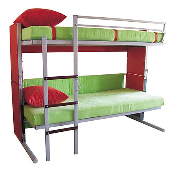 Convertible bunk beds in red