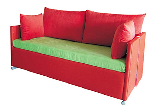 Convertible sofa in red and green