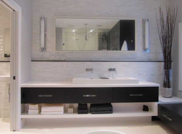 Cool Design and clean lines give this bathroom vanity a minimalist look