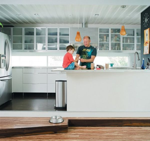 Cordell Shipping Container House- Contemporary kitchen with ergonomic form