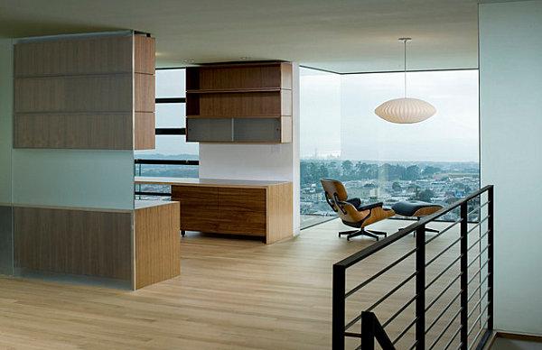 Corner seating with pendant lighting
