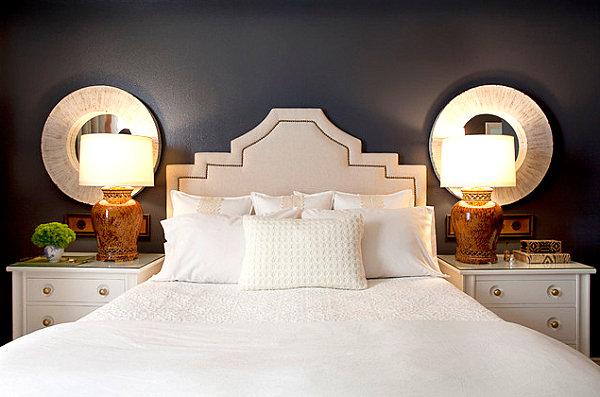 Crisp midnight blue bedroom