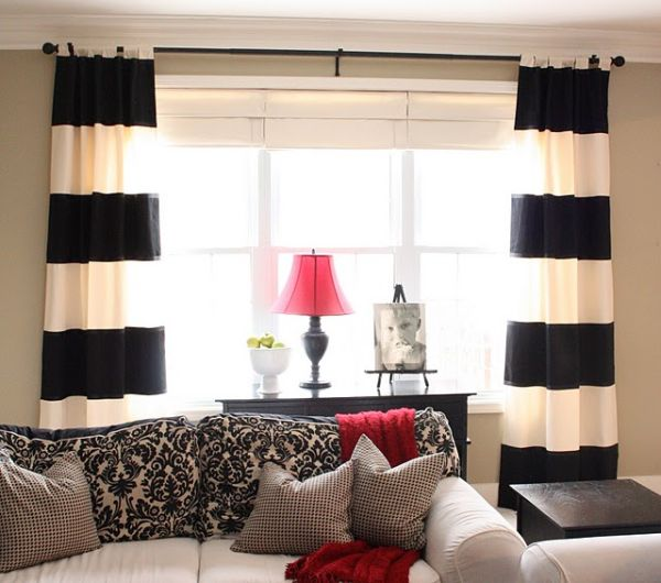 DIY black and white striped curtains