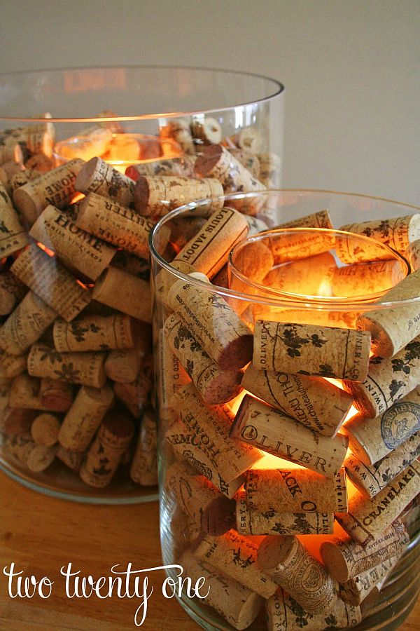 DIY candle holder made from wine corks