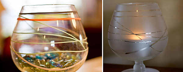 DIY frosted jar candle holder