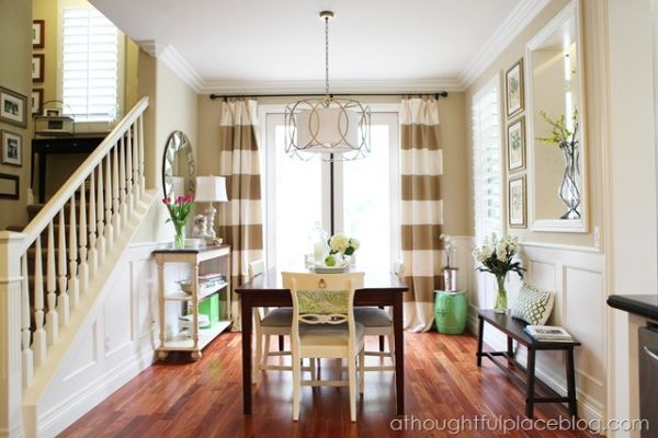 Neutral striped curtains