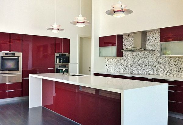 Dark red painted wood kitchen design