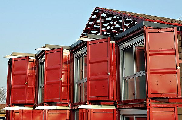 Doors of the shipping containers are left intact giving a privacy option