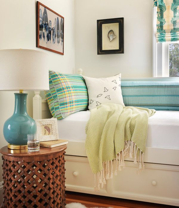 Eclectic modern bedroom with stylish trundle bed that saves up on space