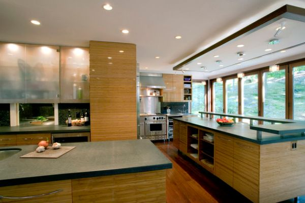 Elaborate Asian kitchen designed with translucent cabinet doors crafted for the use of a professional chef