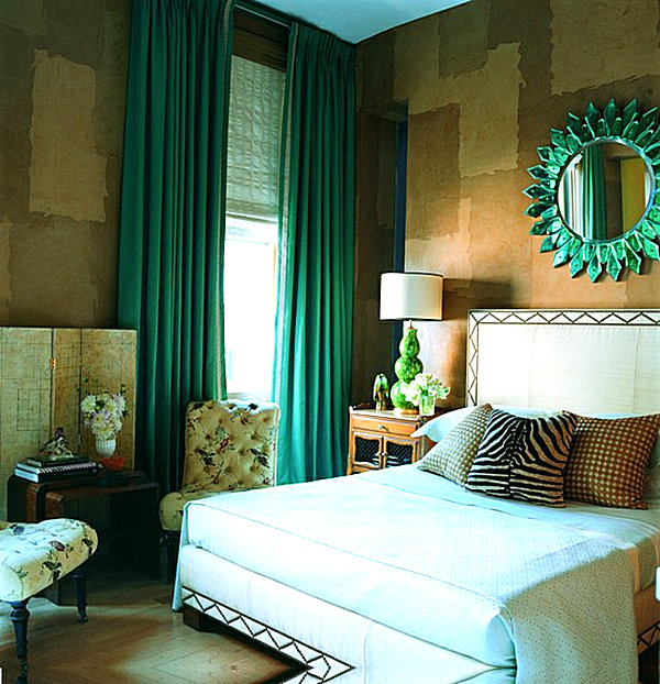 Emerald green drapes for the bedroom