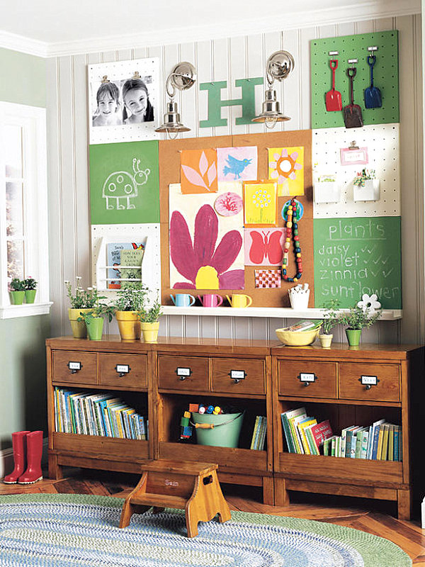 Garden-themed bedroom for kids